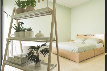 Bedroom painted Enlightened Lime with plants on a freestanding shelf